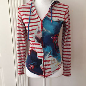 Desigual Cotton Striped Floral Hoodie